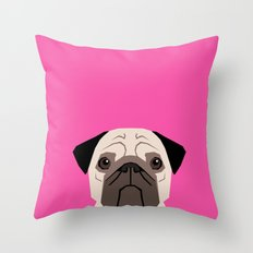 Taylor - Pug dog art phone case for pet lovers and dog people Throw Pillow