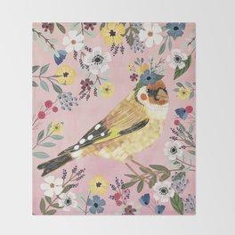 Goldfinch bird with floral crown Throw Blanket