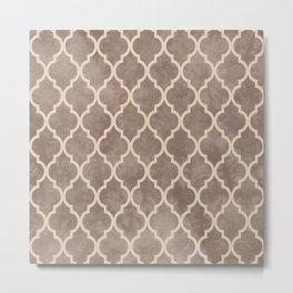Classic Quatrefoil Lattice Pattern 914 Beige on Beige Metal Print