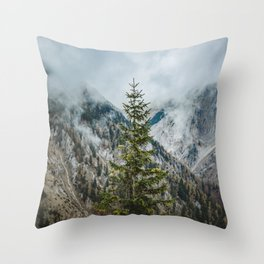 A Pine Tree Surrounded by Mountains in Austria. || Schneealpe, Österreich Throw Pillow