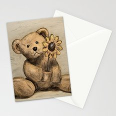 Teddybear with a sunflower Stationery Cards