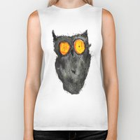 scary Biker Tanks featuring Scary owl by Bwiselizzy