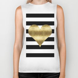 gold heart black and white stripe Biker Tank