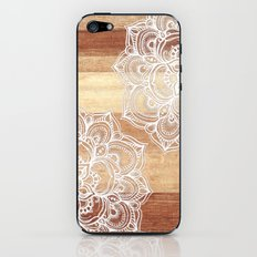 White doodles on blonde wood - neutral / nude colors iPhone & iPod Skin