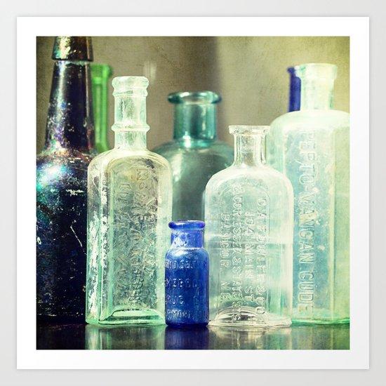 Vintage Bottles Art Print