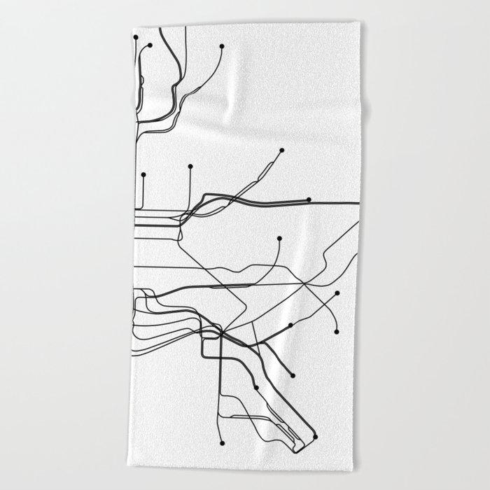 New York City Subway Map Black And White.New York City White Subway Map Beach Towel By Multiplicity