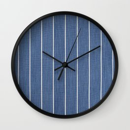 Denim Blue with White Pinstripes Wall Clock