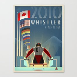 """Minimalist Whistler """"Olympic Luge"""" Travel Poster Canvas Print"""