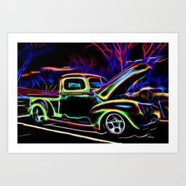 1940 Ford Pick-up Truck Neon Art Print