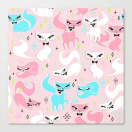 Swanky Kittens on Pink Canvas Print