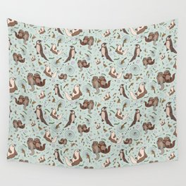 Cute Sea Otters Wall Tapestry