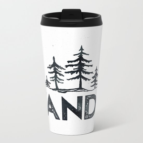 WANDER Forest Trees Black and White Metal Travel Mug
