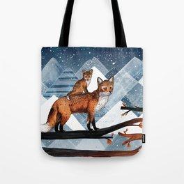 Fox Wood Tote Bag