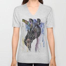 Nightmare unicorn is so goth but still rocking mermaid hair! Unisex V-Neck