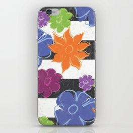 Vintage Style Summer Flowers on Black and White Stripe iPhone Skin
