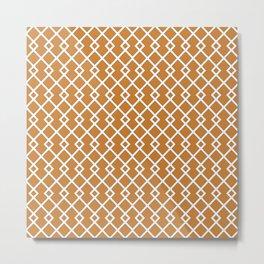 Bronze Orange Diamond Pattern Metal Print