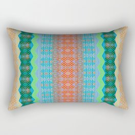 Retro Earth Tone Subtle Neon Psychedelic Zag Boho Lines Rectangular Pillow