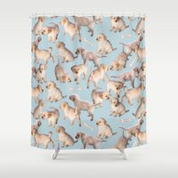 puppies Shower Curtains featuring Too Many Puppies by micklyn