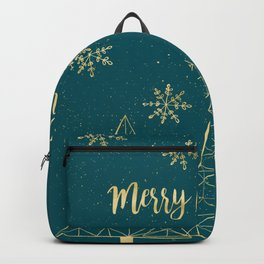 Merry Christmas Teal Gold Backpack