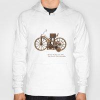 mercedes Hoodies featuring Daimler Riding Car, 1885. The world's first motorbike. by Marijan Zubak
