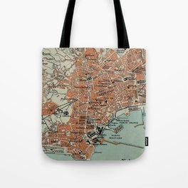 Vintage Map of Naples Italy (1911) Tote Bag