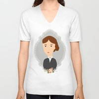 virginia V-neck T-shirts featuring Virginia Woolf by Creo tu mundo