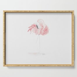Tropical birds: Pastel pink flamingo Serving Tray