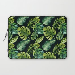 Watercolor Botanical Green Monstera Lush Tropical Palm Leaves Pattern on Solid Black Laptop Sleeve