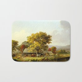 George Henry Durrie Autumn in New England, Cider Making Bath Mat
