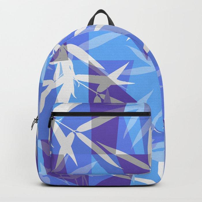Bamboo in Blue Geometric Pattern Backpack