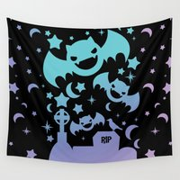 pastel goth Wall Tapestries featuring Creepy Cute Fairy Kei Pastel Goth Bats, Stars, and Crescent Moons by KawaiiMachine