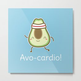 Kawaii Cute Avocado Pun Metal Print