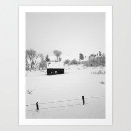 Farmhouse in snow Art Print