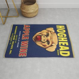 Vintage 1950's Hogshead Wine Bottle Label Print Rug