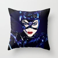 catwoman Throw Pillows featuring Catwoman  by Jordi Hayman Design