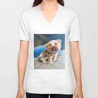 yorkie V-neck T-shirts featuring Yogi the Yorkie by Steve James