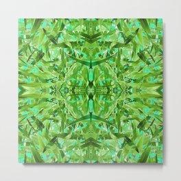 Green and Turquoise Abstract Mandala 613 Metal Print