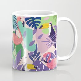 Tropical Jungle With Flamingos And Toucans Memphis Style Coffee Mug