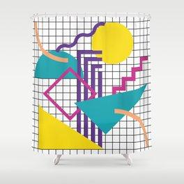 Memphis Pattern - 80s Retro White Shower Curtain