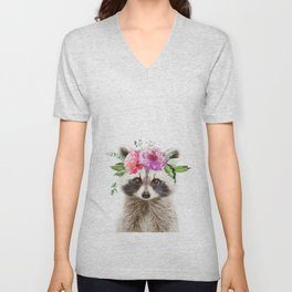 Baby Raccoon with Flower Crown Unisex V-Neck