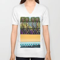 pool V-neck T-shirts featuring Tropical Pool by Abstract Designs