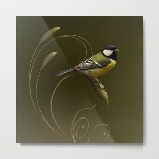 Great tit on swirled branch Metal Print