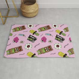 Haunted Psychobilly Luau Toss in Hibiscus Pink Rug