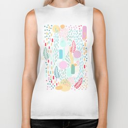 Abstract Nature - Colourful Doodle Pattern 3 Biker Tank