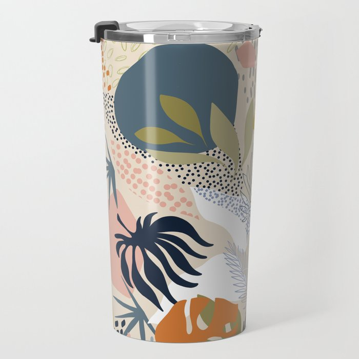 Tropical Foliage Pattern 1 - Retro Boho Travel Mug