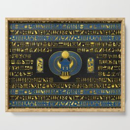 Golden Egyptian Scarab Ornament on  leather Serving Tray