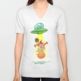 Santa Claus Abducted by a UFO just before Christmas Unisex V-Neck
