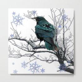 CROW/RAVEN IN WINTER TREE & SNOWFLAKES Metal Print