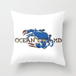 Ocean City Blue Crab Throw Pillow