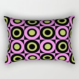 Mid Century Square and Circle Pattern 391 Pink Chartreuse and Black Rectangular Pillow
